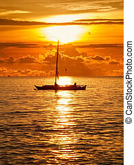 boat on the sea at the morning sunrise