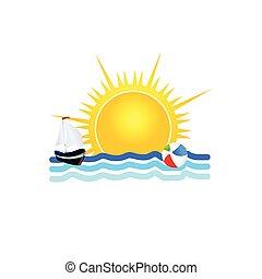 boat on the sea icon vector illustration