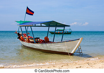 Boat on the sea in Cambodia - Ship and sea landscape in...