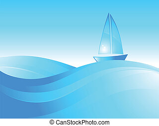 Boat on the sea waves. Vector illustration.