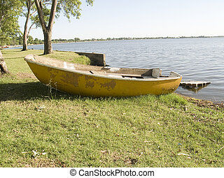 boat on the shores of Lake