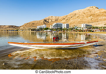 Boat on the shores of the dead sea at dawn, Israel