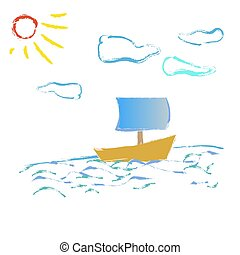 boat on the waves of the sun sunshine vector illustration blue background