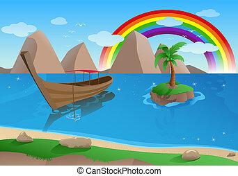 boat on tropical beach