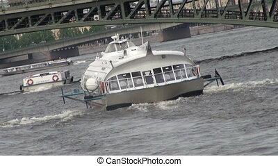 Boat on underwater wings.
