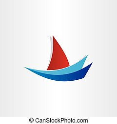 boat on water stylized icon design