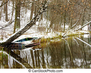 Boat on Winter Lake