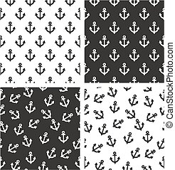 Boat or Tattoo Anchor Aligned & Random Seamless Pattern Set