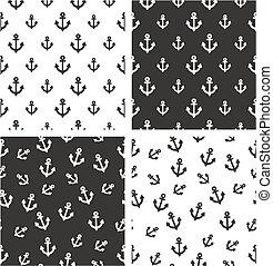 Boat or Tattoo Anchor Big & Small Aligned & Random Seamless Pattern Set