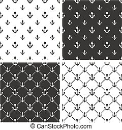 Boat or Tattoo Anchor Big & Small Seamless Pattern Set