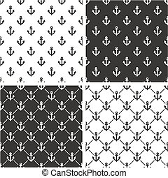 Boat or Tattoo Anchor Seamless Pattern Set