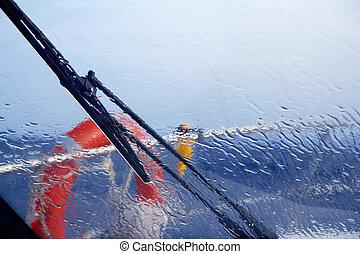 boat perfect storm water splashing in window from indoor