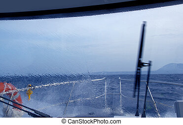 boat perfect storm water splashing