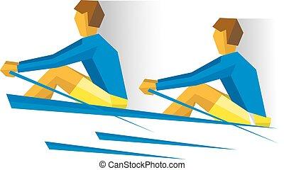 boat., persone, canottaggio, due, concorrenza, remo