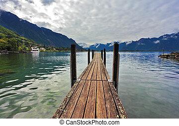 Boat pier on Lake Leman