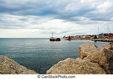 Boat, Piran sea - View of boat in the Piran sea, Slovenia