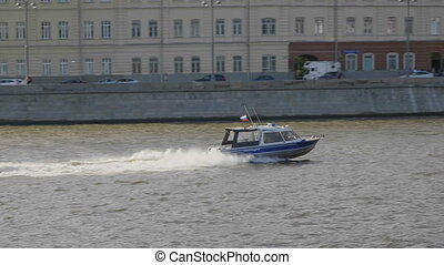 Boat police of Russia floating on the Moscow river