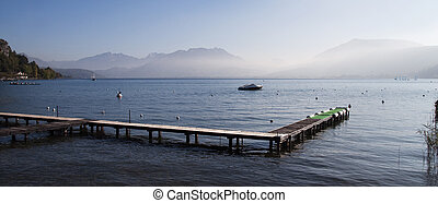 Boat pontoon on Annecy's lake