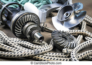 Boat propellerl, gears and ropes - Boat propeller Speed Boat...