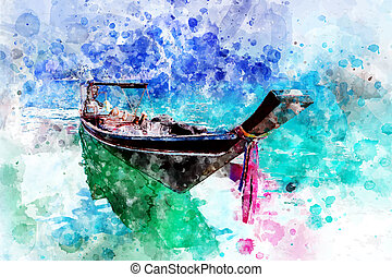 Boat rafting in the dam, with watercolor art.