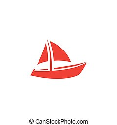 Boat Red Icon On White Background. Red Flat Style Vector Illustration.