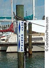 Photographed boat rental sign at Key West, Florida.