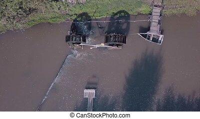 boat., rivière, bourdon, sur, eau, filmé, moulin, là, jetée