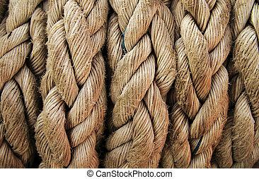Boat rope closeup. Nautical background. - Closeup of boat ...