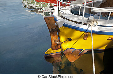 Boat rudder in the sea