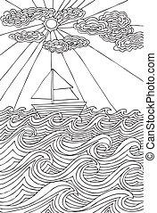 boat., słońce, chmury, ilustracja, ręka, marynarz, wektor, morze, tytułowany, pociągnięty