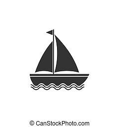 Boat, sail, sailing, ship, yacht icon. Vector illustration, flat design.