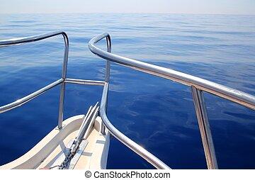 boat sailing blue calm ocean sea bow railing