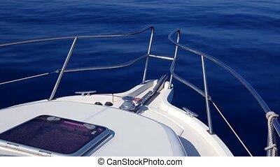 boat sailing in blue mediterranean