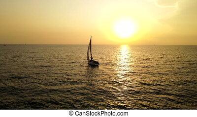 Boat sailing in Mediterranean Sea aerial footage