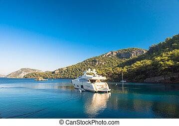 Boat sailing in Mediterranean Sea Marmaris, Turkey