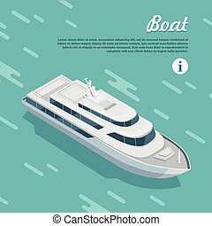 Boat Sailing in Sea. Cruise Liner Passenger Ship