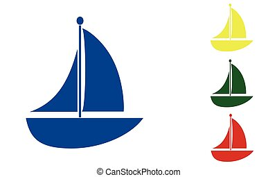 Boat sailing in various colors