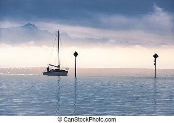Boat sailing on a lake