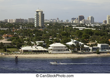 Boat Sails in Intracoastal Coastline of Ft. Lauderdale, Florida