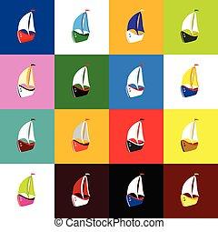 boat set icon illustration