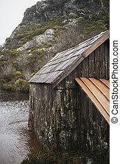 Boat shed in Dove Lake, Tasmania