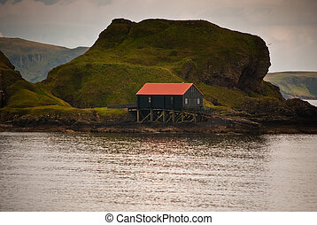 Boat shed off the coast of Scotland