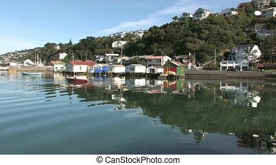 Boat sheds at Evans Bay, Wellington