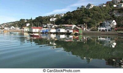 Boat sheds at Evans Bay, Wellington