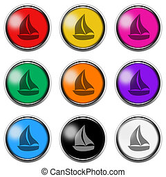 Boat sign button icon set isolated on white with clipping path 3d illustration