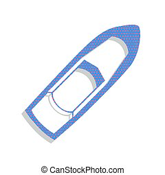 Boat sign. Vector. Neon blue icon with cyclamen polka dots patte