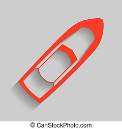 Boat sign. Vector. Red icon with soft shadow on gray background.