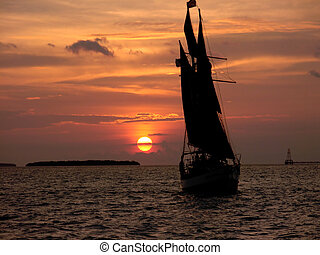 boat silhouette sunset