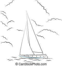 Boat sketch - Vector illustration of a sketchy boat