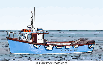 Boat Sketch with fill - Hand Sketched drawing of a fishing...